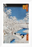 """Drum Bridge at Meguro, from the Series """"100 Views of Edo"""" Framed Canvas Print by Ando Hiroshige"""