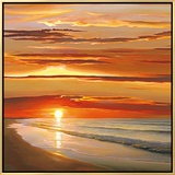 Sunset on the Water Framed Canvas Print by Dan Werner