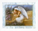 Angel at Rest Framed Canvas Print by Edward Tadiello