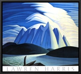 Lake and Mountains Framed Canvas Print by Lawren S. Harris