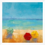 Parasols II Framed Canvas Print by Régine Pivier-Attolini