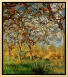 Springtime Framed Canvas Print by Claude Monet