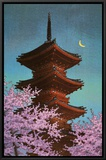 Pagoda in Moonlight Framed Canvas Print by Kawase Hasui