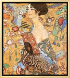 Lady with Fan Framed Canvas Print by Gustav Klimt