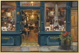 Parisian Wine Shop Framed Canvas Print by Marilyn Hageman