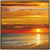 Sunset on the Sea Framed Canvas Print by Dan Werner