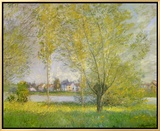Willows of Vetheuil Framed Canvas Print by Claude Monet