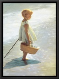 Young Girl on a Beach Framed Canvas Print by I. Davidi