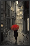 Red Rain Framed Canvas Print by Stefano Corso