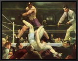 Dempsey and Firpo Framed Canvas Print by George Wesley Bellows