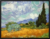 Wheatfield with Cypresses, c.1889 Framed Canvas Print by Vincent van Gogh