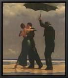Dancer In Emerald Framed Canvas Print by Jack Vettriano