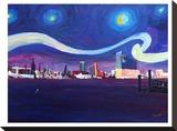 Starry Night In Hamburg Impressão em tela esticada por M Bleichner