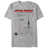 Star Wars The Force Awakens- T-70 Blueprints T-Shirt