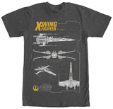 Star Wars The Force Awakens- T-70 X-Wing Schematics Shirts
