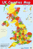 Map Of UK Counties Posters