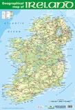 Geographic Map of Ireland Plakater