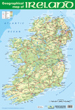 Geographic Map of Ireland Prints