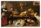 Kitchen Still Life with a Maid and Young Boy Posters by Frans Snyders