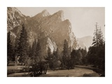 Further Up the Valley, The Three Brothers, the highest, 3,830 ft., Yosemite, California, 1866 Poster by Carleton Watkins