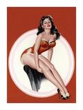 Mid-Century Pin-Ups - Eyeful Magazine - Brunette in a Red Bathing suit ポスター : ピーター・ドリベン