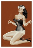 Mid-Century Pin-Ups - Lacing her bra Poster by Peter Driben