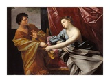 Joseph und Potiphars Frau Poster von Guido Reni