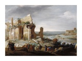 Moses and Aaron Changing the Rivers of Egypt to Blood Prints by Bartholomeus Breenbergh