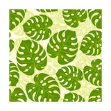 Seamless Tropical Pattern with Stylized Monstera Leaves Prints by  incomible
