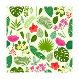 Seamless Pattern with Tropical Plants, Leaves and Flowers Art by  incomible