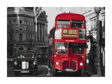 Taxi and Double-Decker Bus at London Intersection Prints by Pawel Libera