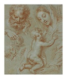 Studies of the Madonna and Child and of Heads (recto); Madonna and Child with Saint John Seated in  Prints by Michel Corneille