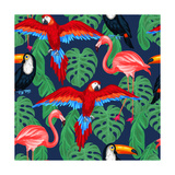 Tropical Birds Seamless Pattern with Palm Leaves Prints by  incomible