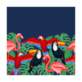 Tropical Birds Seamless Pattern with Palm Leaves Premium Giclee Print by  incomible