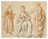 Studies of Three Women Plakat af Jean-Antoine Watteau