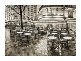 Rainy Night at Place Edgar Quinet in Paris Prints by Peet Simard