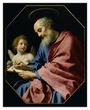 St. Matthew Writing His Gospel Plakater af Carlo Dolci