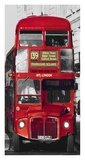 Taxi and Double-Decker Bus at London Intersection (detail) Art by Pawel Libera