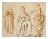 Studies of Three Women Posters af Jean-Antoine Watteau
