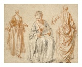 Studies of Three Women Posters by Jean-Antoine Watteau