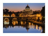 St. Peter's Basilica and Tiber River at dusk, Rome Prints by Jeremy Woodhouse