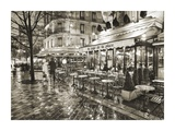 Sidewalk Cafe on Rainy Evening in Paris Posters by Peet Simard