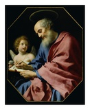 St. Matthew Writing His Gospel Poster af Carlo Dolci