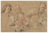 Two Studies of a Flutist and a Study of the Head of a Boy Plakater af Jean-Antoine Watteau
