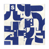 Collaged Letters Blue D Giclee Print by J.b. Hall