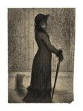 Une elegante (Woman Strolling) Print by Georges Seurat