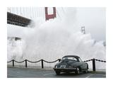 Waves crashing below Golden Gate Bridge, San Francisco Prints by Jim Sugar
