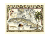 Tropical Map of Cuba Premium Giclee Print by  Vision Studio