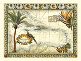 Tropical Map of West Indies Premium Giclee Print by  Vision Studio