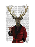 Deer in Smoking Jacket Print by  Fab Funky